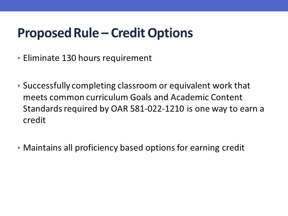 Proposed Rule – Credit Options