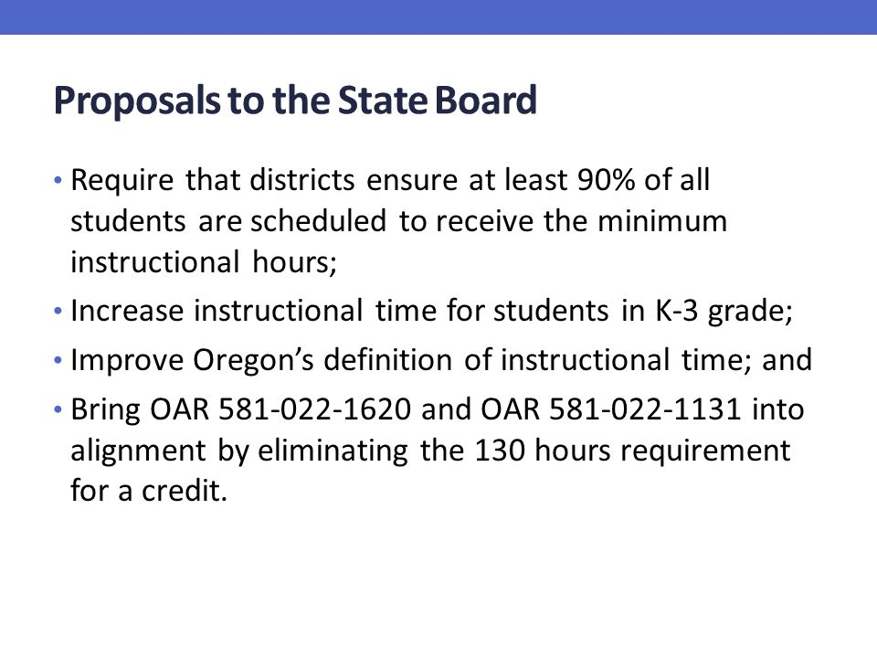 Proposals to the State Board