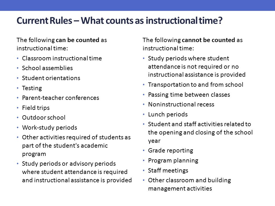 Current Rules – What counts as instructional time