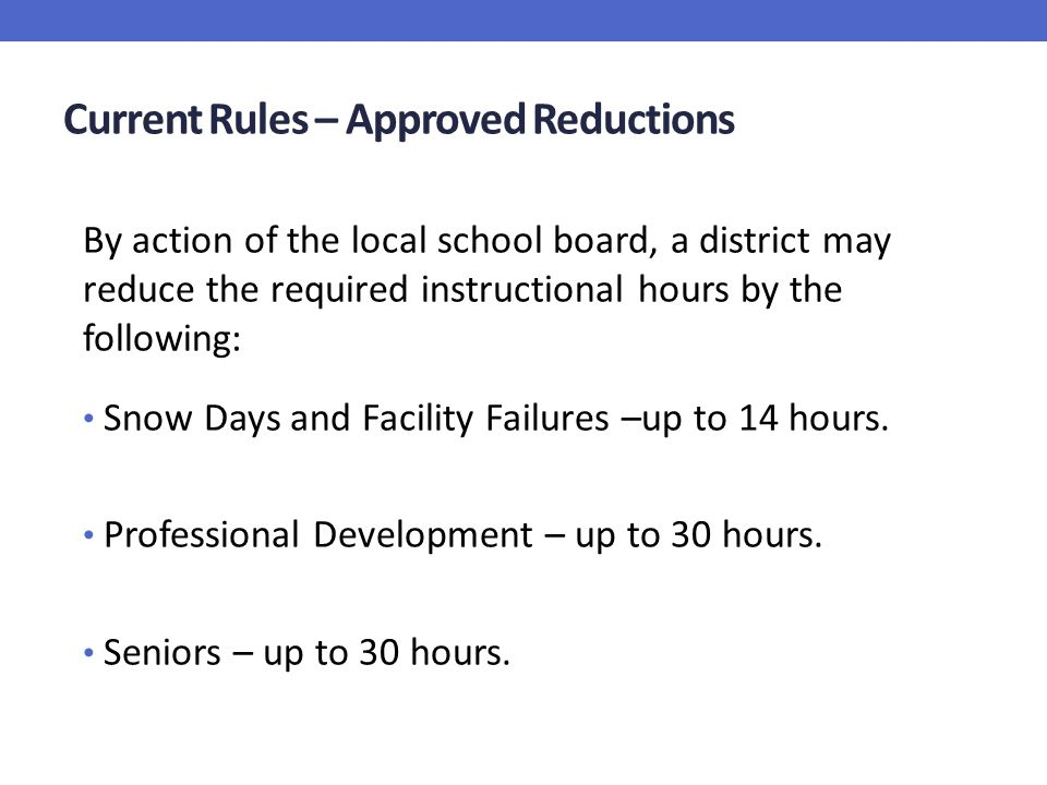 Current Rules – Approved Reductions