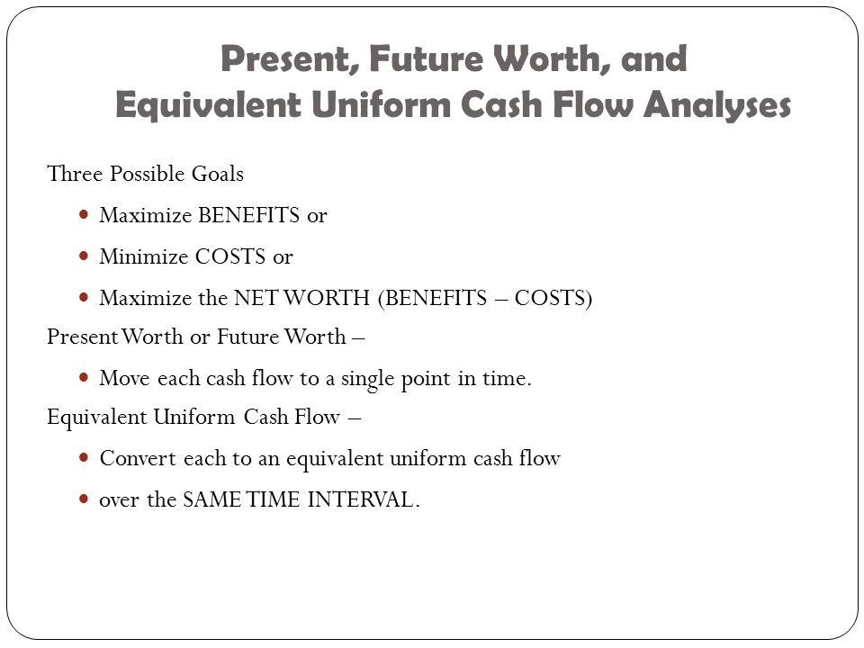 Present, Future Worth, and Equivalent Uniform Cash Flow Analyses