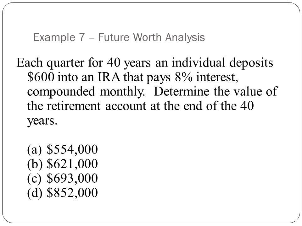 Example 7 – Future Worth Analysis