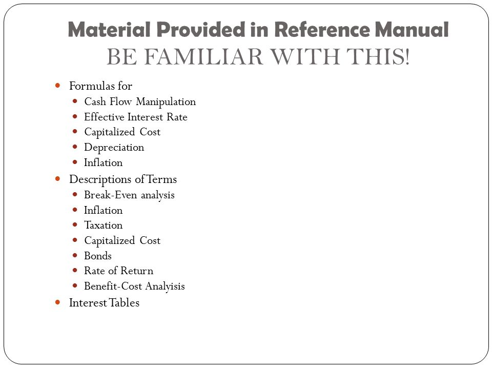 Material Provided in Reference Manual BE FAMILIAR WITH THIS!