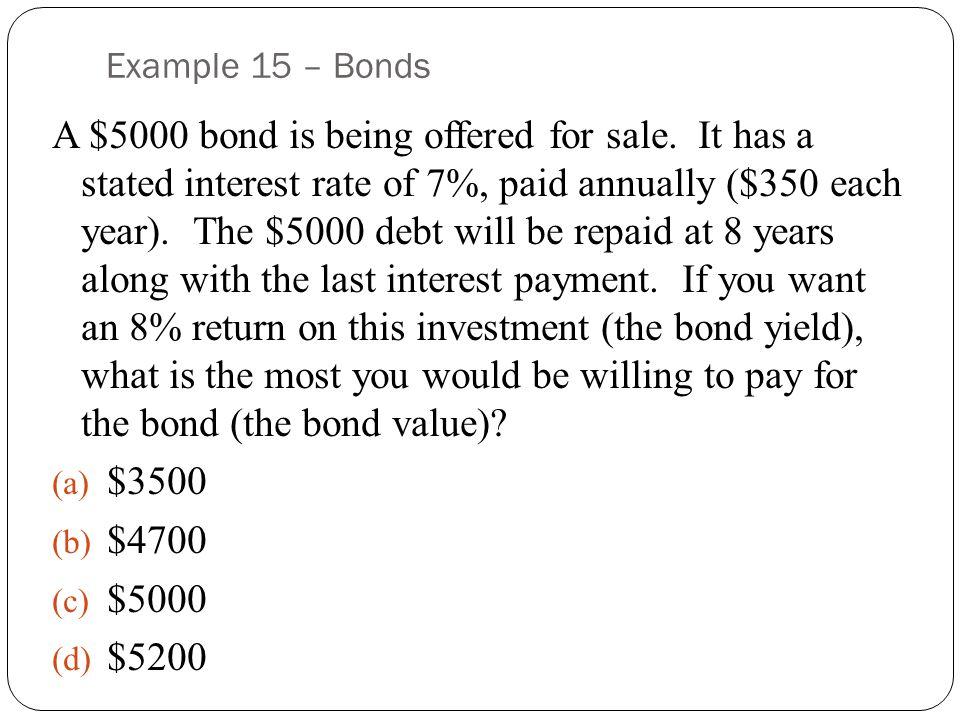 Example 15 – Bonds