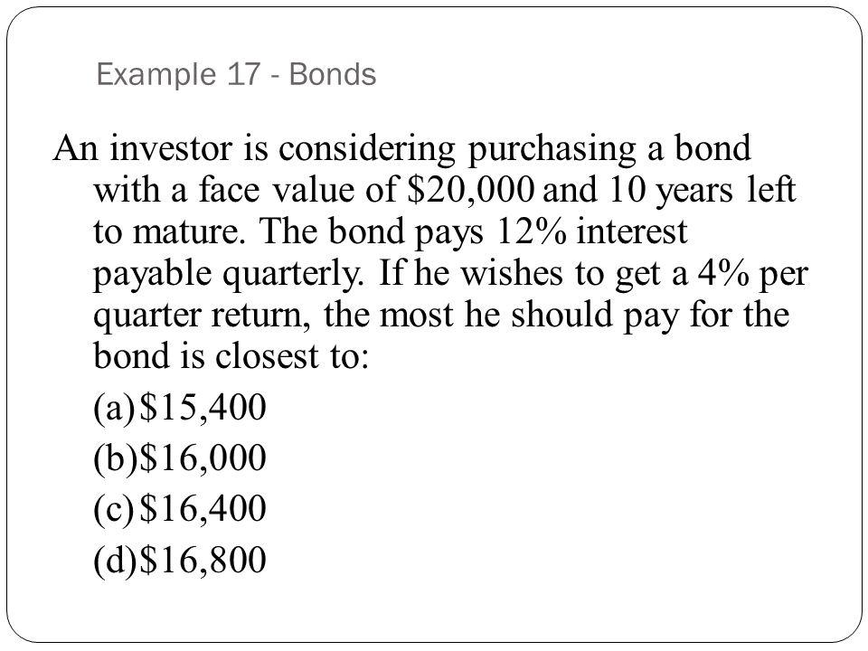 Example 17 - Bonds