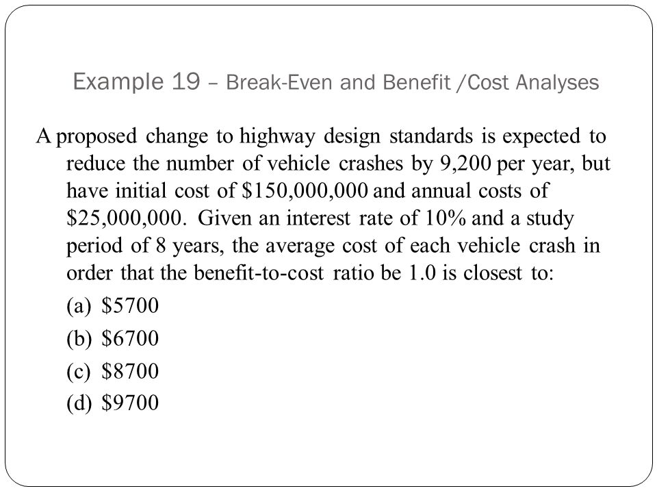 Example 19 – Break-Even and Benefit /Cost Analyses