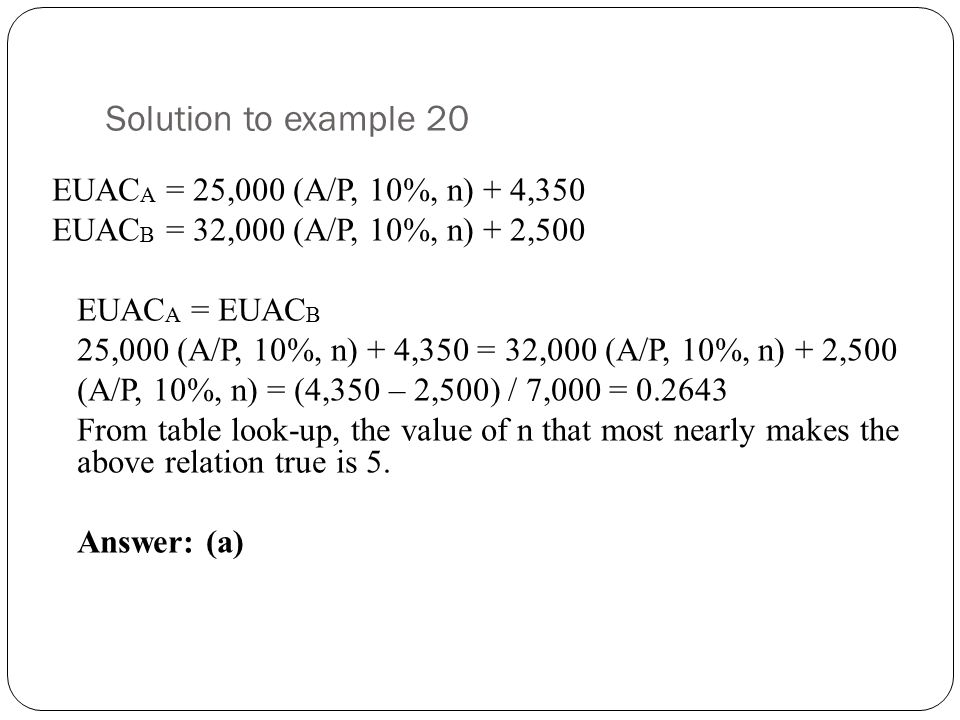 Solution to example 20