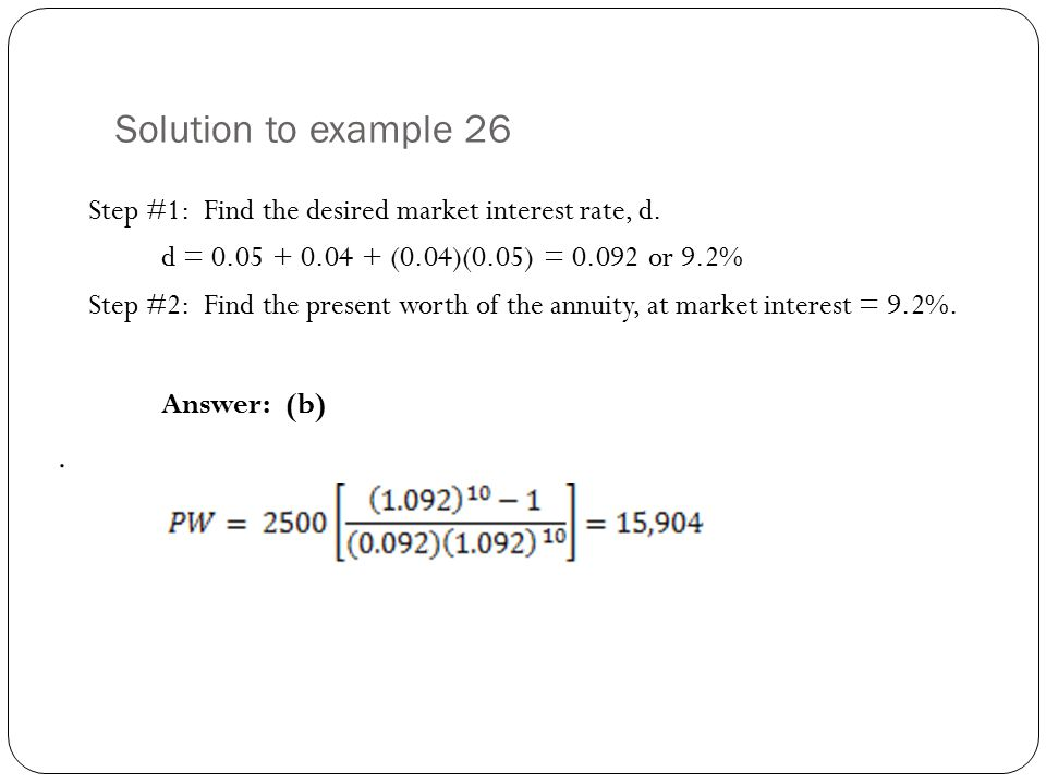 Solution to example 26 Answer: (b) .