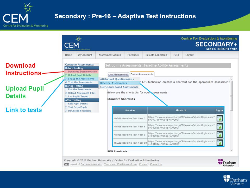 Secondary : Pre-16 – Adaptive Test Instructions