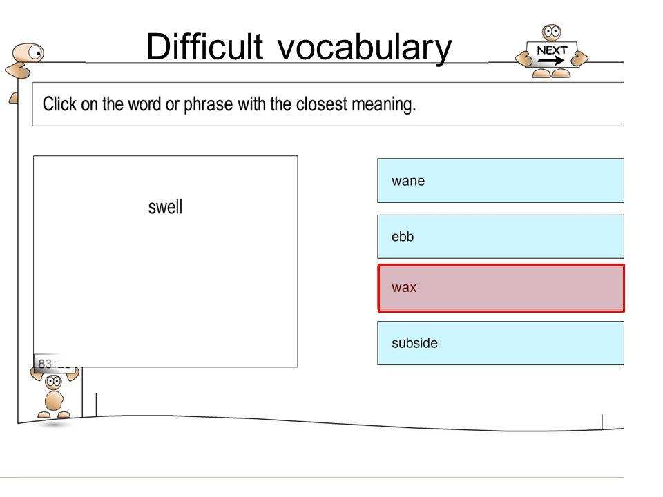 Difficult vocabulary Vocab - Closely related to reading and English – a proxy – pupils need to be able communicate ideas across the curriculum areas.