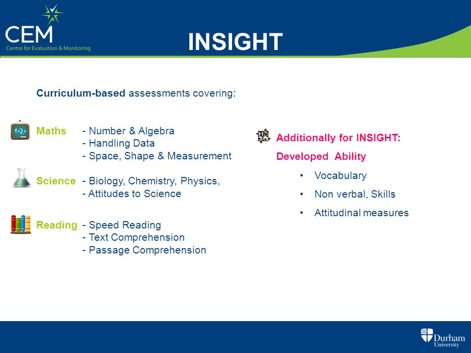 INSIGHT Curriculum-based assessments covering: