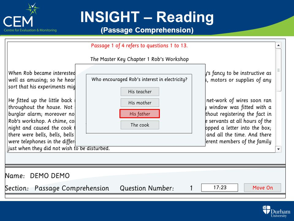 INSIGHT – Reading (Passage Comprehension)