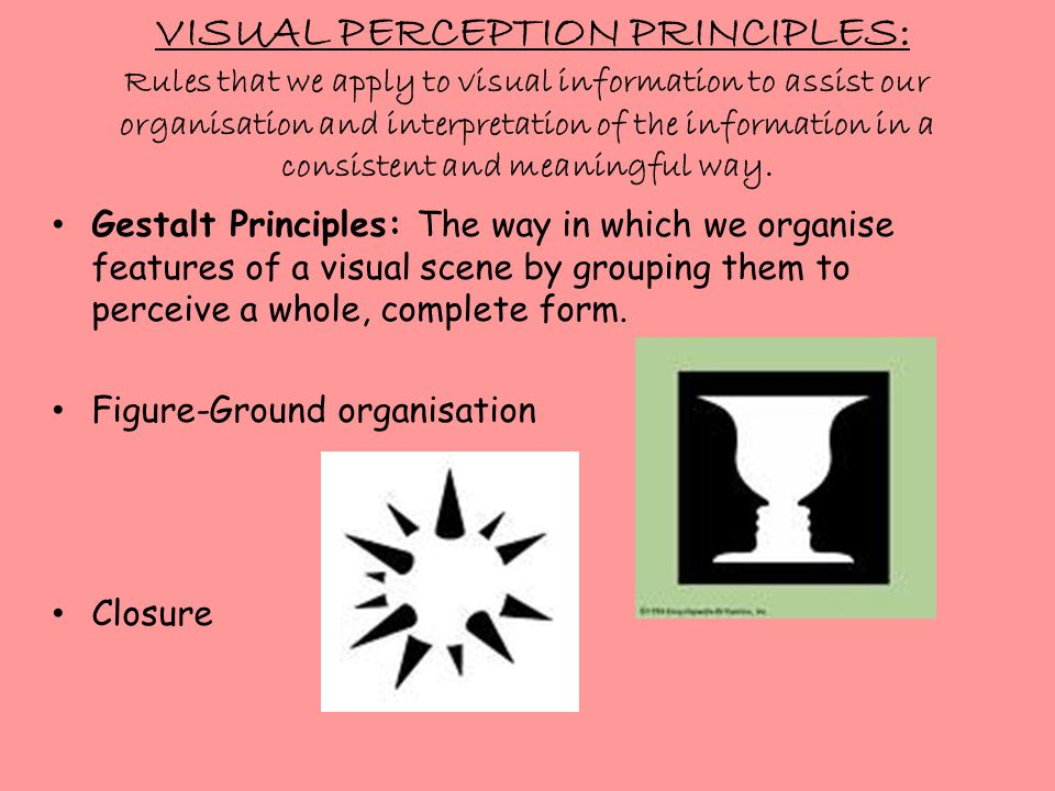 VISUAL PERCEPTION PRINCIPLES: Rules that we apply to visual information to assist our organisation and interpretation of the information in a consistent and meaningful way.
