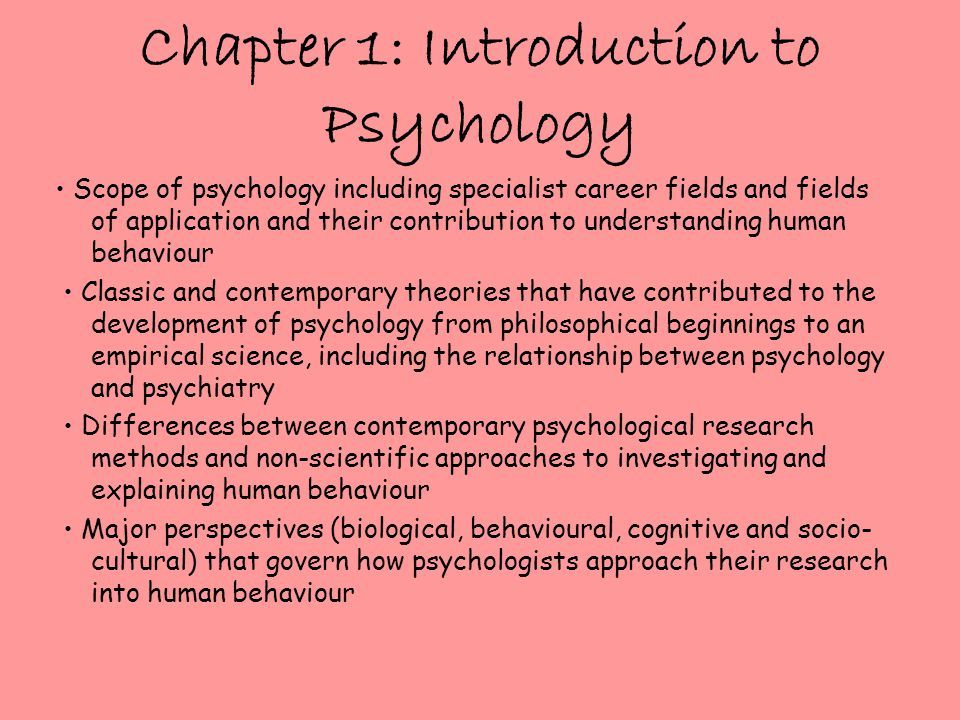 Chapter 1: Introduction to Psychology