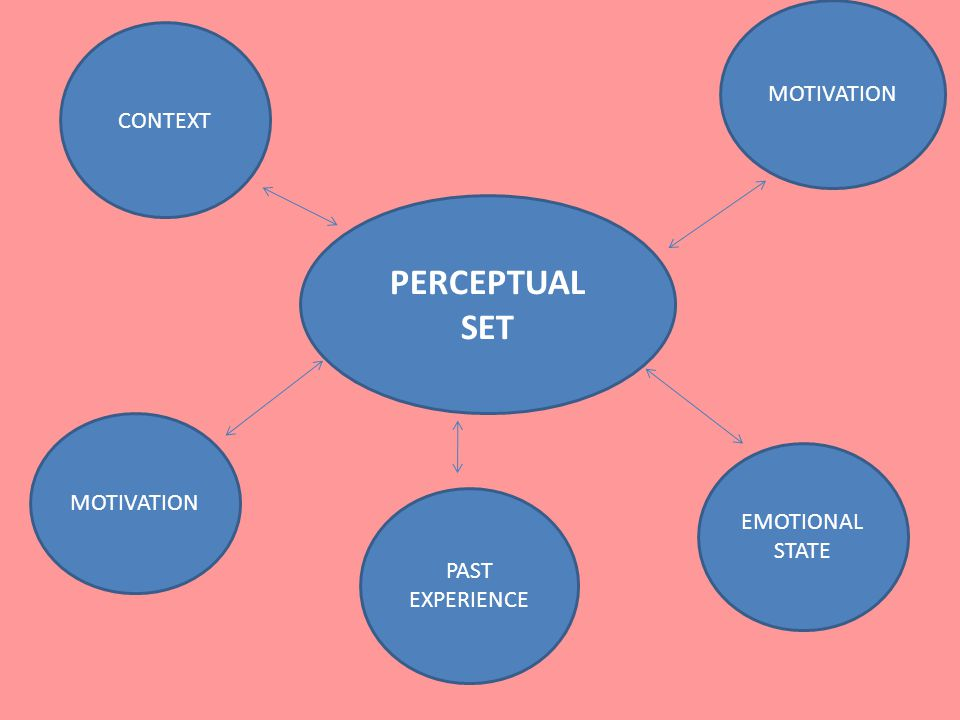PERCEPTUAL SET MOTIVATION CONTEXT MOTIVATION EMOTIONAL STATE