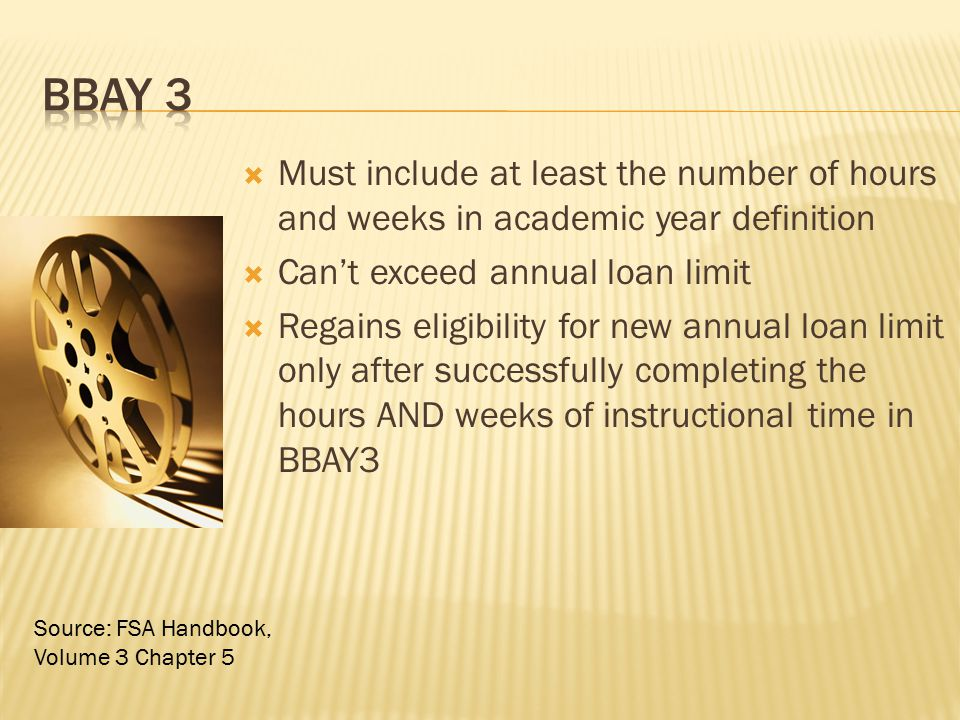 BBAY 3 Must include at least the number of hours and weeks in academic year definition. Can't exceed annual loan limit.