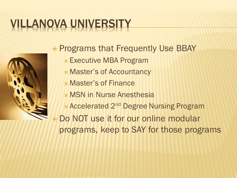 Villanova University Programs that Frequently Use BBAY