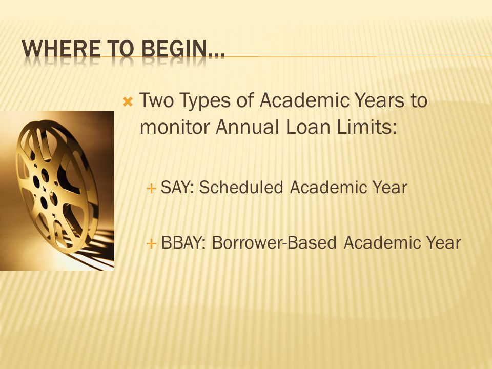 Where to Begin… Two Types of Academic Years to monitor Annual Loan Limits: SAY: Scheduled Academic Year.
