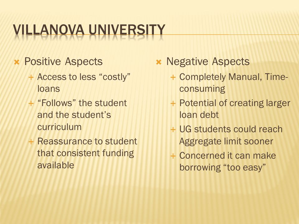 Villanova University Positive Aspects Negative Aspects