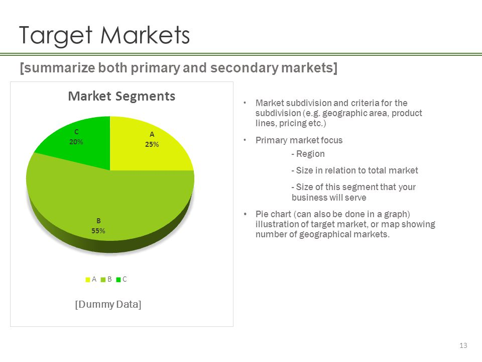 Target Markets [summarize both primary and secondary markets]