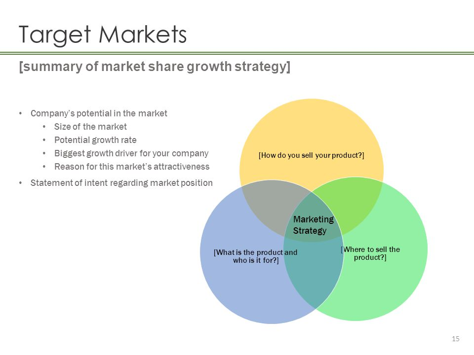 Target Markets [summary of market share growth strategy]