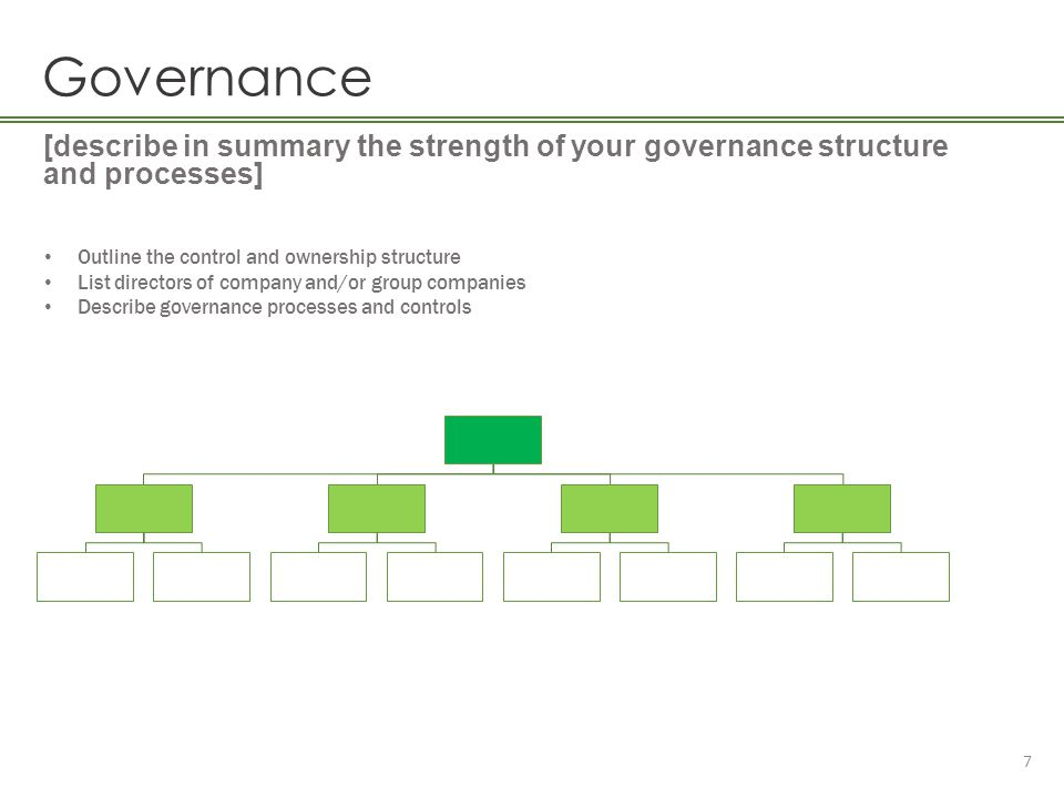 Governance [describe in summary the strength of your governance structure and processes] Outline the control and ownership structure.