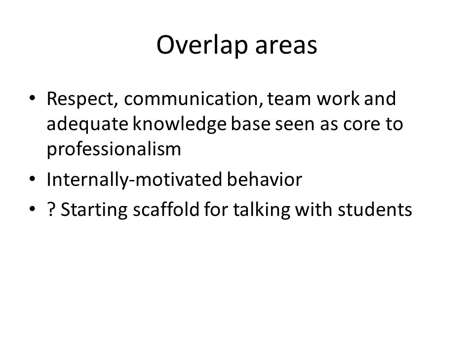 Overlap areas Respect, communication, team work and adequate knowledge base seen as core to professionalism.