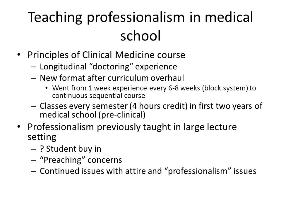 Teaching professionalism in medical school