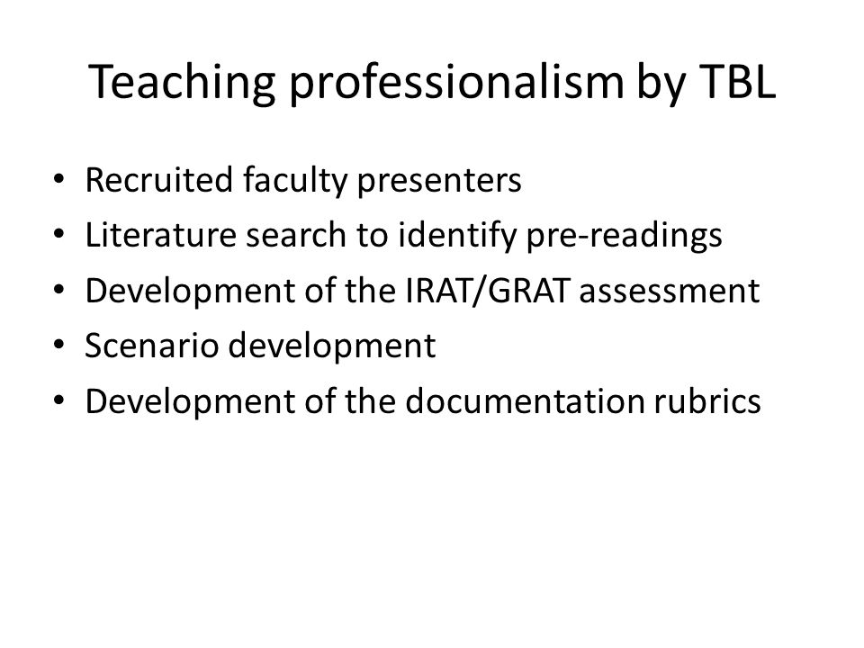 Teaching professionalism by TBL