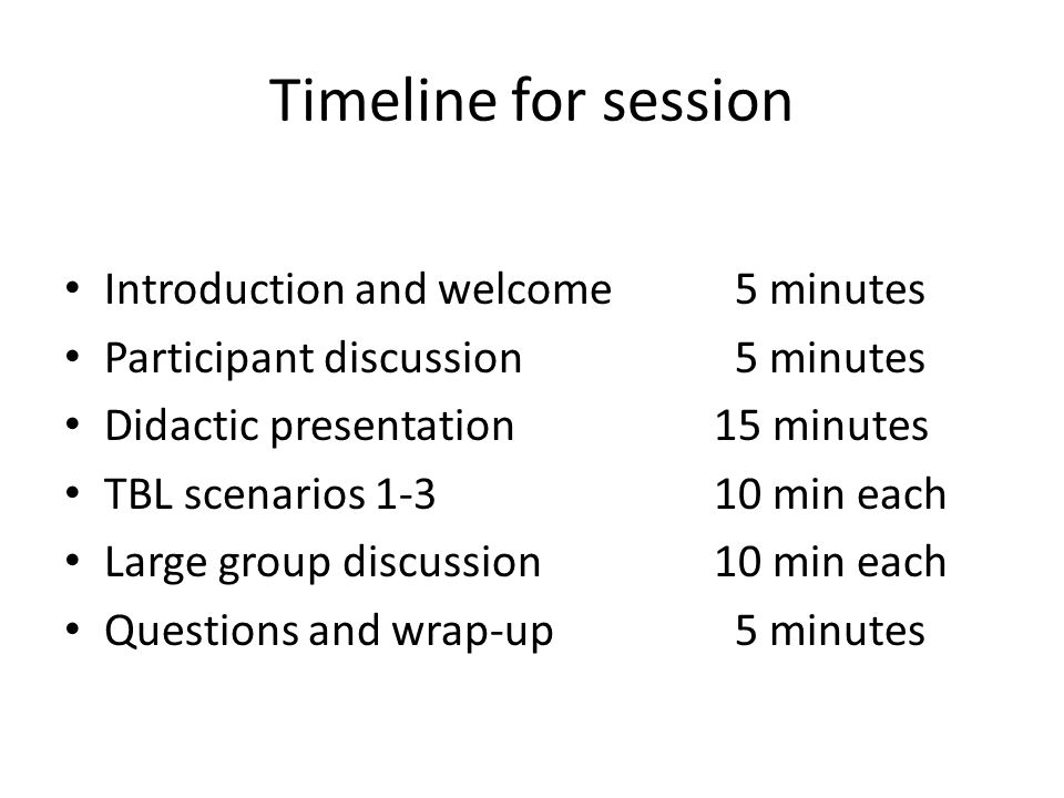 Timeline for session Introduction and welcome 5 minutes