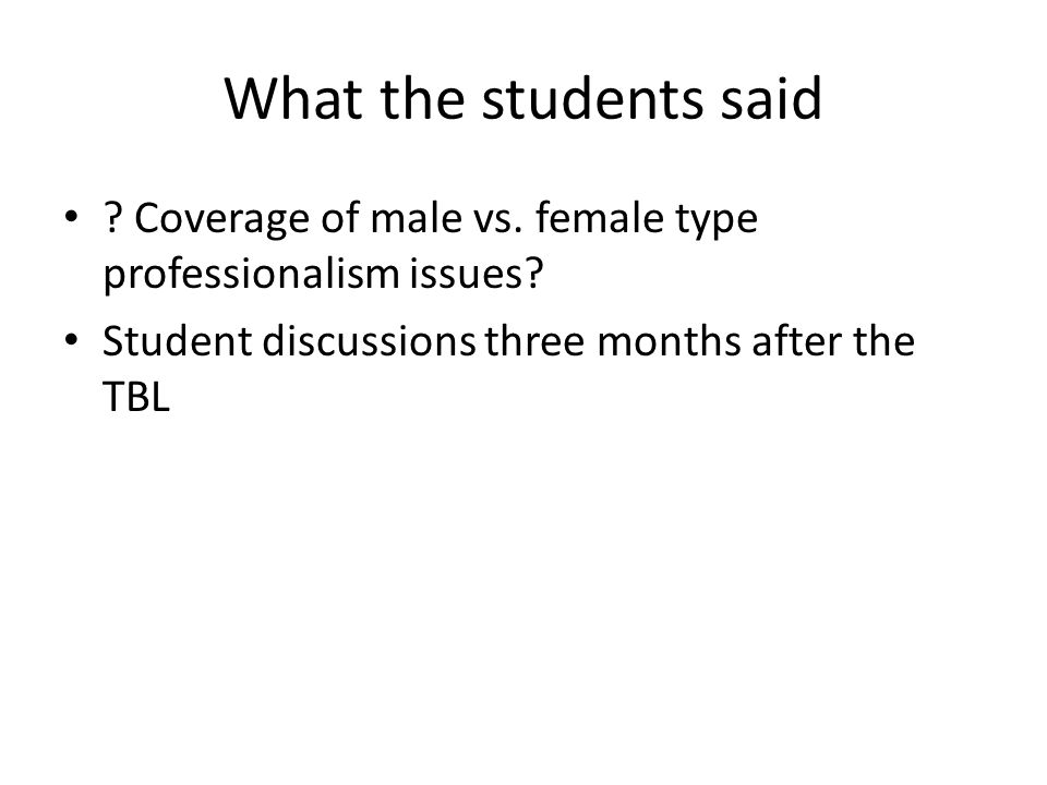 What the students said . Coverage of male vs. female type professionalism issues.
