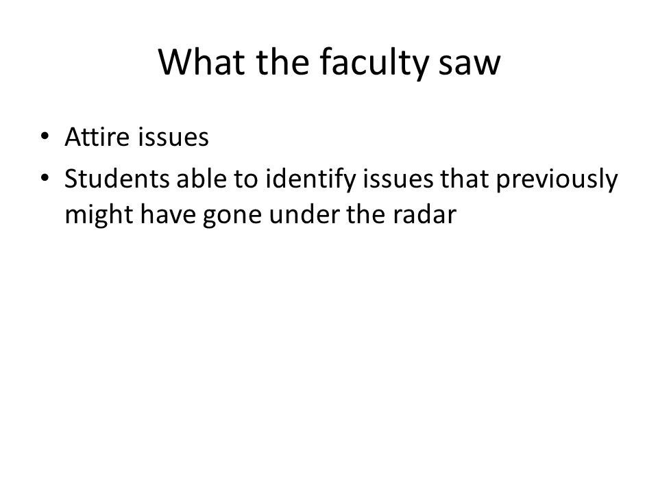 What the faculty saw Attire issues
