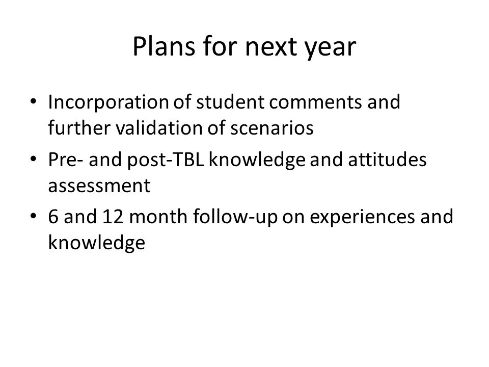Plans for next year Incorporation of student comments and further validation of scenarios. Pre- and post-TBL knowledge and attitudes assessment.