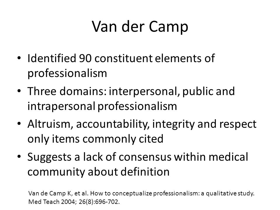 Van der Camp Identified 90 constituent elements of professionalism