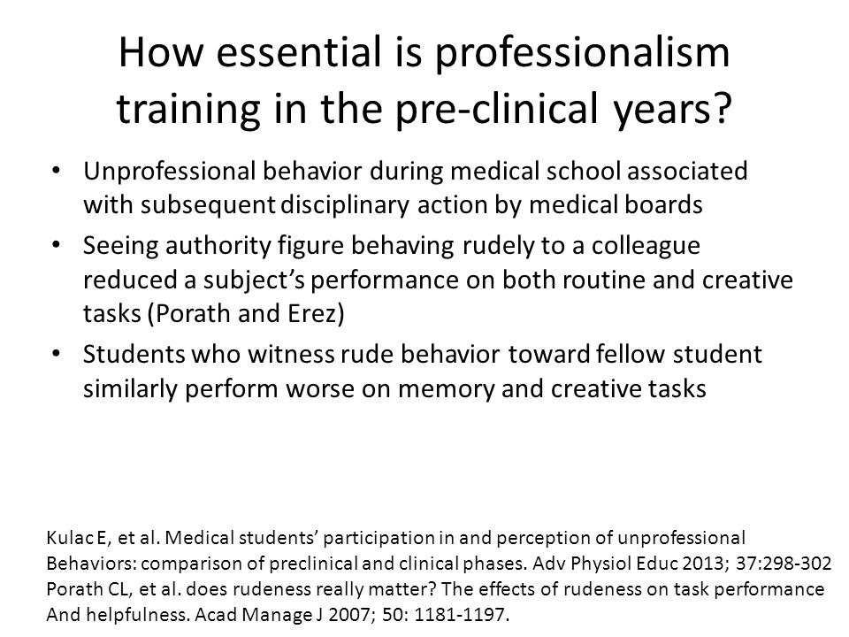 How essential is professionalism training in the pre-clinical years