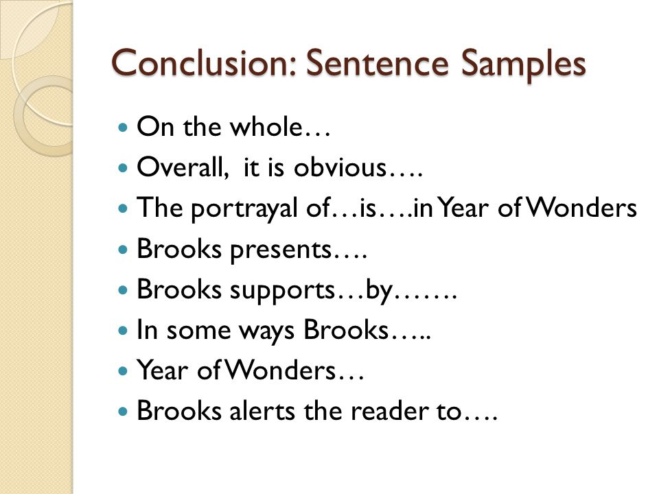 Conclusion: Sentence Samples