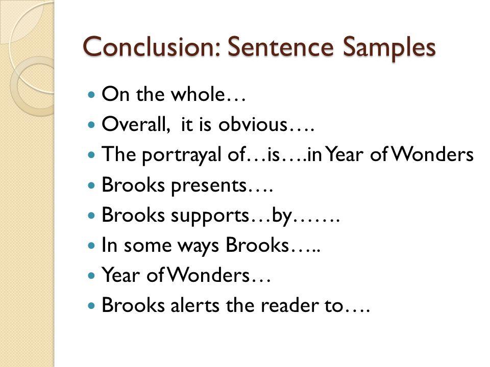 Conclusion: Sentence Samples