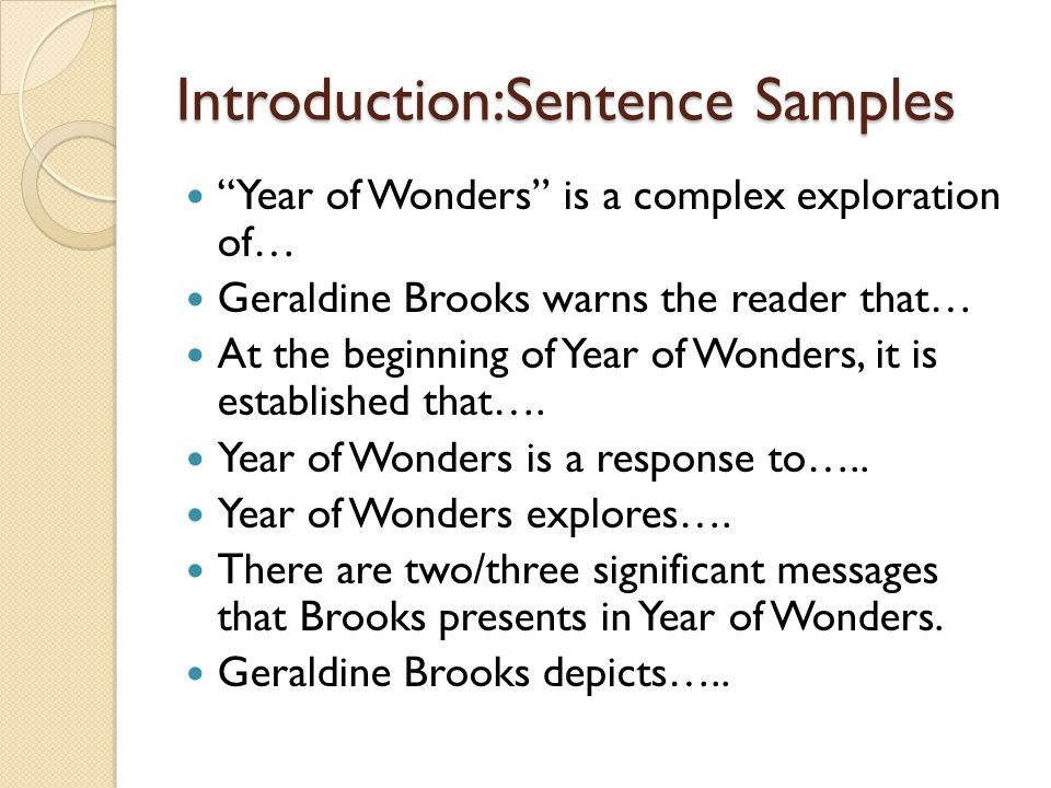 Introduction:Sentence Samples