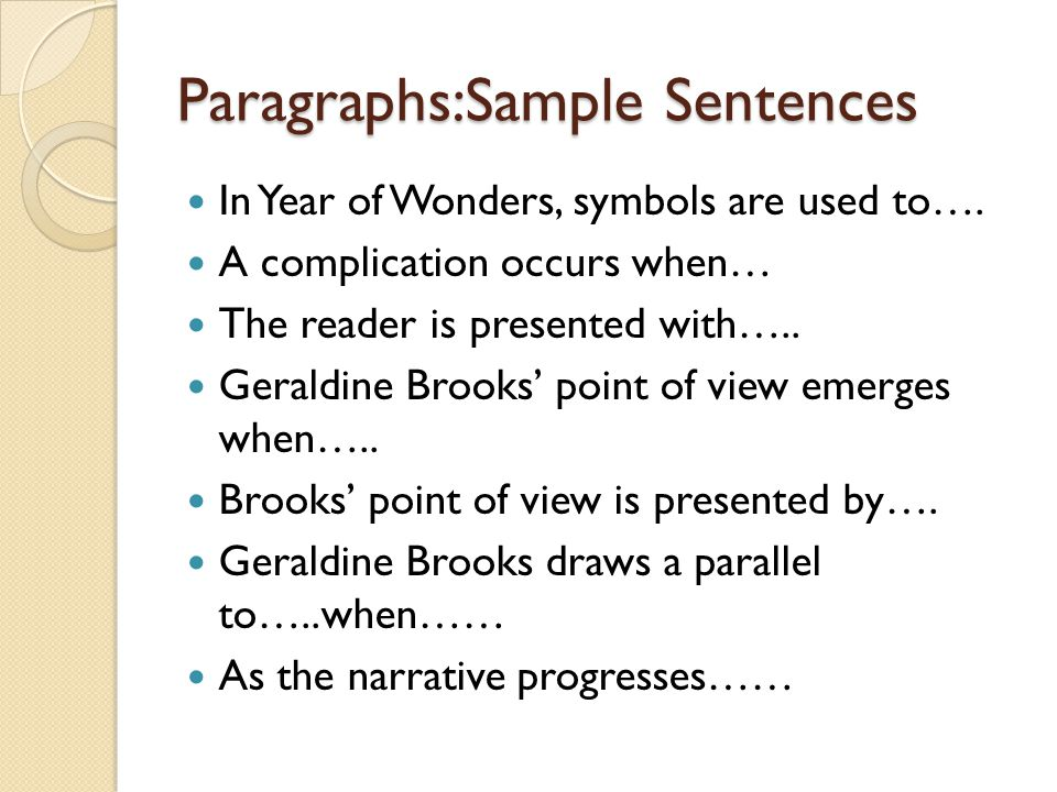 Paragraphs:Sample Sentences