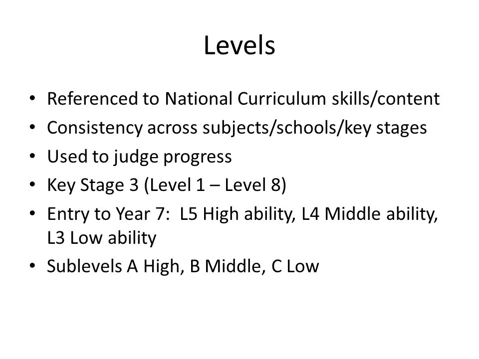 Levels Referenced to National Curriculum skills/content