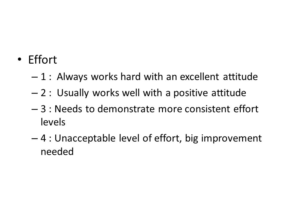 Effort 1 : Always works hard with an excellent attitude
