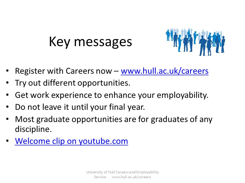 Key messages Register with Careers now – www.hull.ac.uk/careers