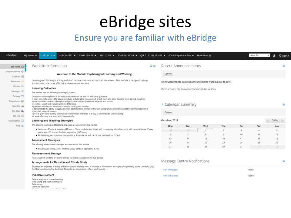 eBridge sites Ensure you are familiar with eBridge