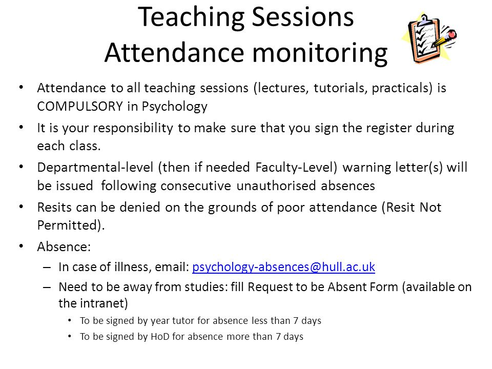 Teaching Sessions Attendance monitoring