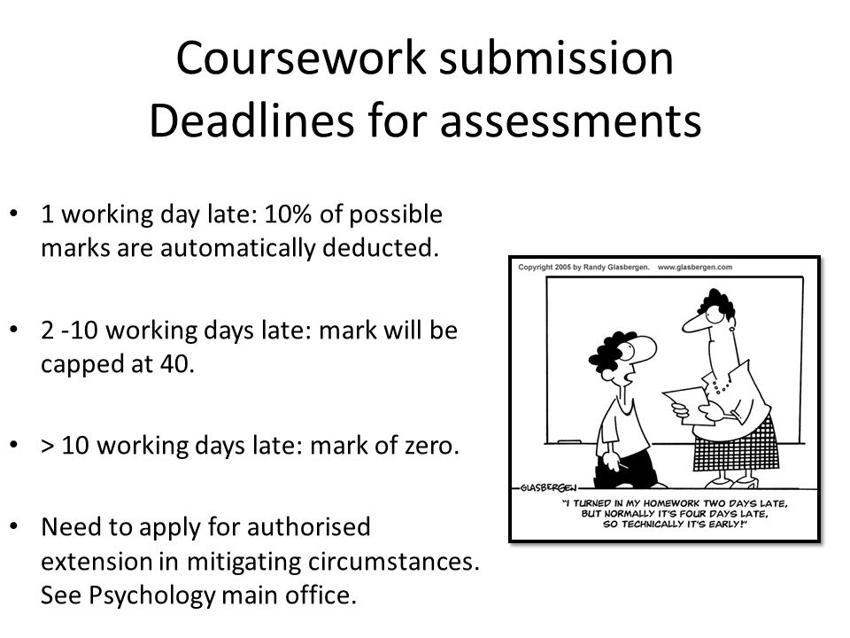 Coursework submission Deadlines for assessments