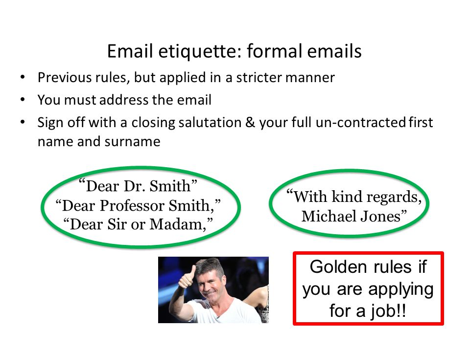 Email etiquette: formal emails