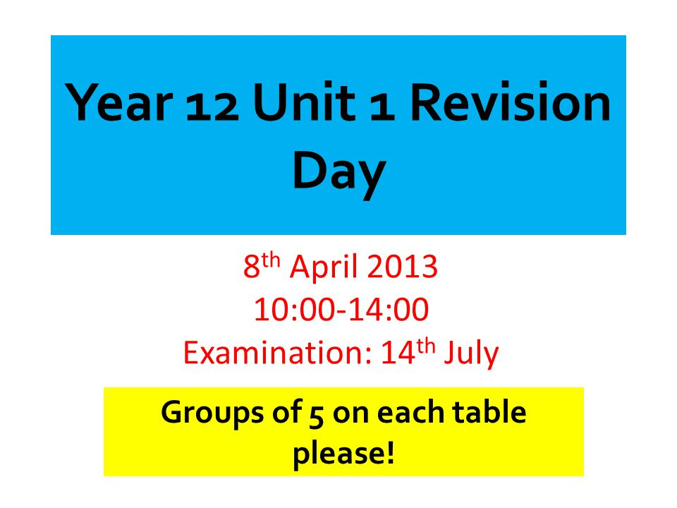 8th April :00-14:00 Examination: 14th July