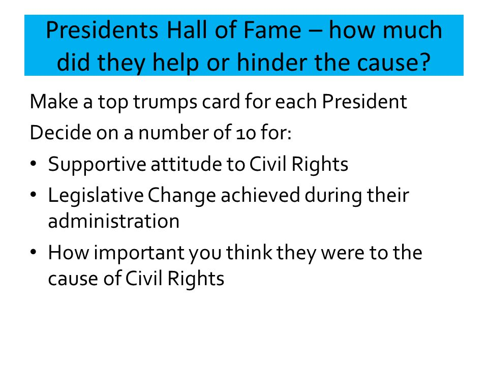 Presidents Hall of Fame – how much did they help or hinder the cause