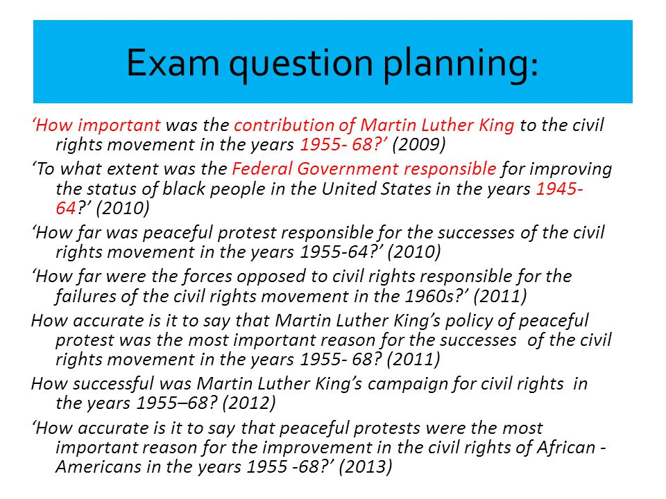 Exam question planning: