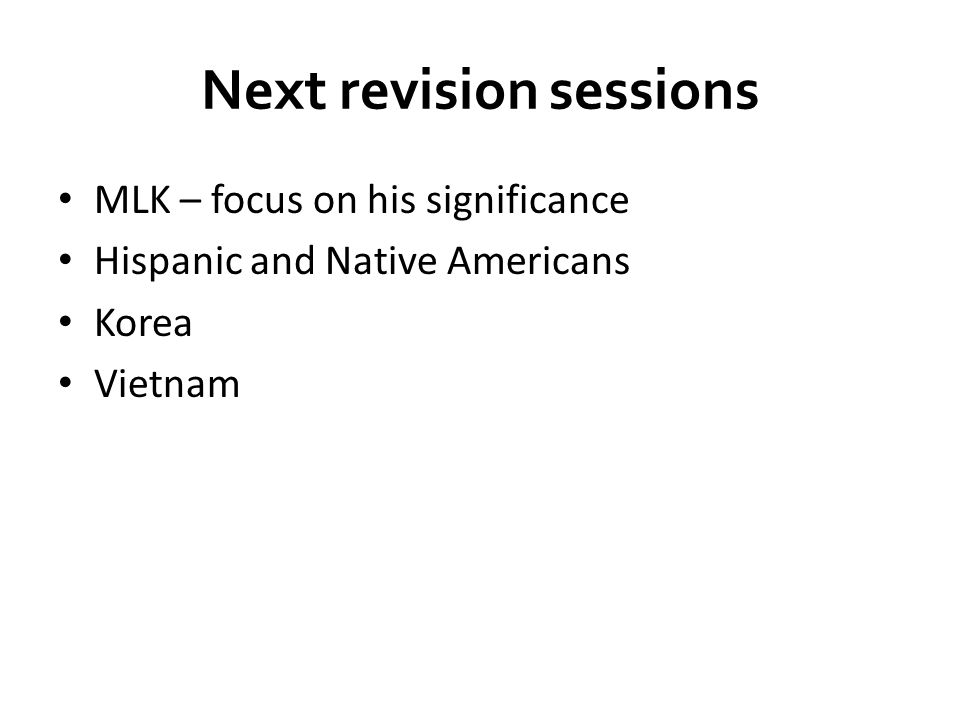 Next revision sessions